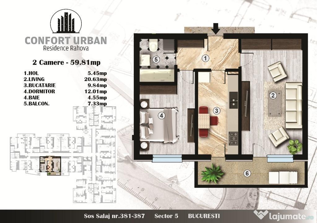 Apartament 2 camere, Confort Urban Rahova – 2020