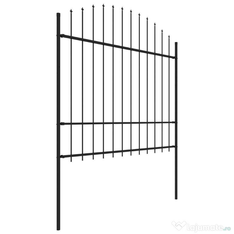 Gard de grădină cu vârf suliță, negru, 277743