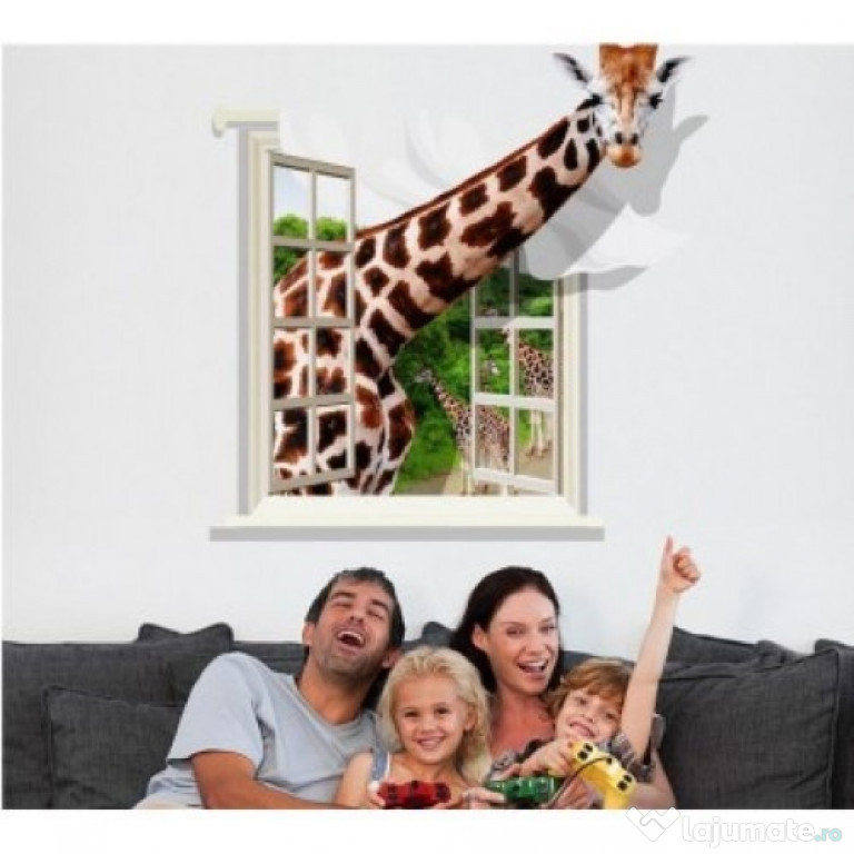 Sticker Decorativ, Fereastra Cu Girafa 79 Cm, 58STK