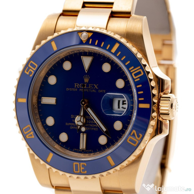 Ceas Rolex Submariner Date Yellow Gold Blue Dial