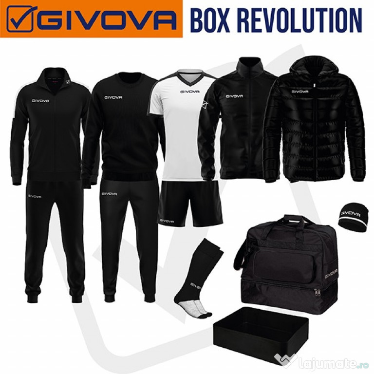 ECHIPAMENT COMPLET FOTBAL BOX REVOLUTION GIVOVA NEGRU ALB