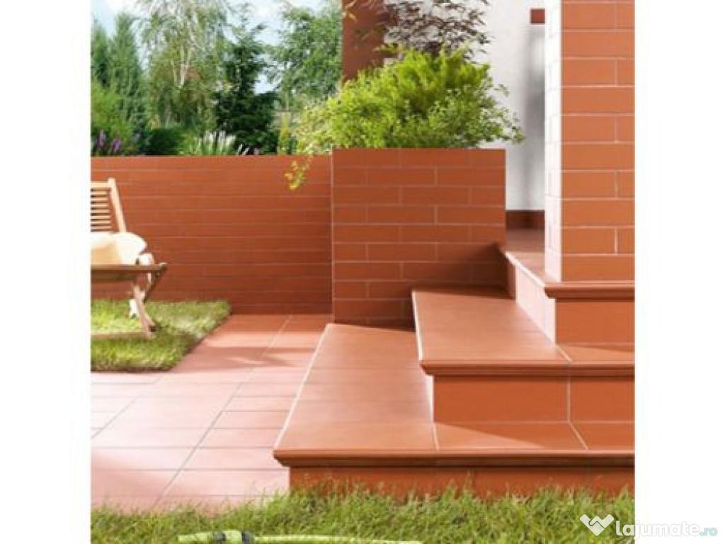 Gresie exterior Klinker Simple Red placare trepte
