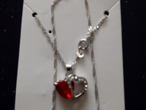 Lant Argint cu Pandantiv Inima Albastra/Inima Rosie