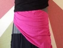 Rochie funky patchwork colorata mulata si incretita lateral