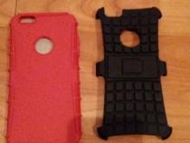 Huse Iphone cauciuc+protectie in spate de plastic+sprij