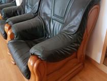 Canapea si 2 fotolii piele naturala si lemn masiv