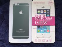 Folie sticlă securizată iphone 6/6s (ptr. spate, contur gri)