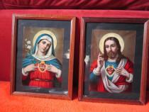 Tablou Print religios vintage, rama lemn-2 bucati -un cadou