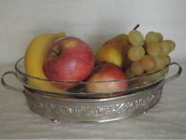 Fructiera vintage, ovala, sticla cu suport metalic
