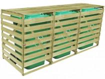 Magazie triplă din lemn tratat pentru pubele 42271