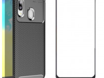 Samsung A10 A20E A40 A50 A70 Husa Carbon + Folie Sticla