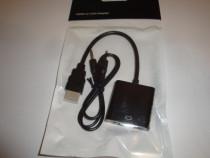 Cablu adaptor convertor HDMI la VGA + cablu audio jack