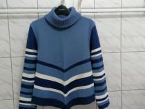 Pulover dama albastru cu model dungi marimea M - Nou