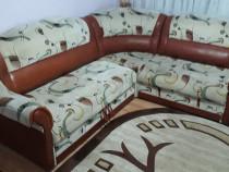 Canapea coltar extensibil si fotoliu culoare crem-maro