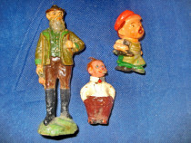 1491-Trei jucarii mici vechi, material probabil lineol.