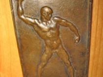 1646-Honved-placheta maghiara bronz militara sportiva veche.