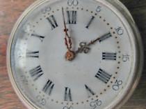 B156-C-Ceas buzunar argint antic cheie spate 10 rubis.