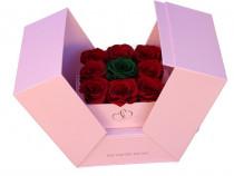 Aranjament 9 Trandafiri Criogenați în cutie cub ascunsa