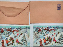 Iarna pe ulita veche carte postala plic colectie posta RSR