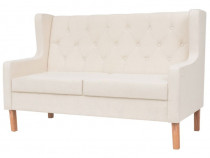 Canapea cu 2 locuri, material textil, alb 245450