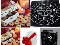 Set rune lemn viking +cadou placa dvinatie rune