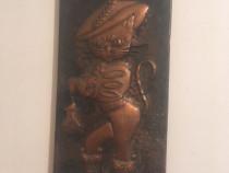 Tablou din bronz motanul incaltat 13/30 cm