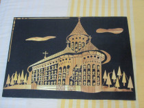 Tablou superb Manastirea Voronet din paie pe panza 33/48cm
