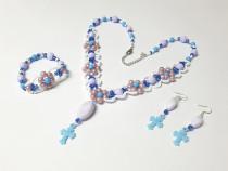 Set floral unicat handmade din margele, 3 piese, albastru
