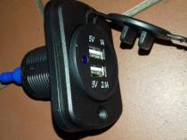 Priza auto dubla USB 2A.