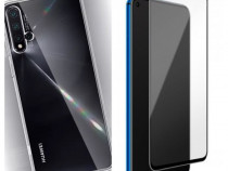 Huawei Nova 5T - Pachet Husa Silicon + Folie Sticla Curbata