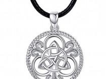 Pandantiv colier din piele, argint 925, motiv celtic, cadou