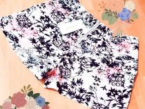 Pantaloni scurți damă imprimeu floral,fermoar metalic M L XL