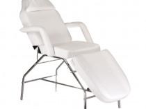 Pat, scaun cosmetica, masaj, BR-3351, piele ecologica, alb
