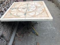 Masa pentru curte sau terasa din fier forjat si gresie