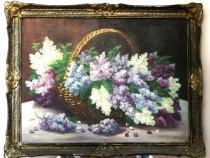 Pictura pe panza, un cos cu buchet de liliac, de A. Draghici