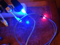 Cablu telefon USB la micro USB iluminat rosu albastru cablu