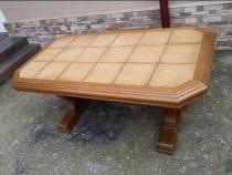 Masa din lemn de stejar cu blat de gresie rustica