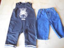 Salopeta + pantaloni pentru baietel de 6 - 9 luni