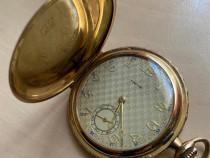 Ceas de buzunar gravura FAVOR dublu placat cu aur