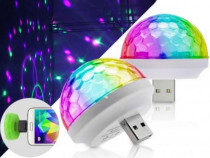 Bec Disco LED, cu port USB, pentru telefon.
