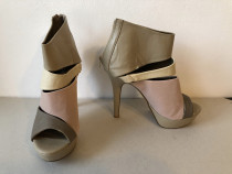 Botine inalte peep toe Qupid, din piele ecologica, in stare