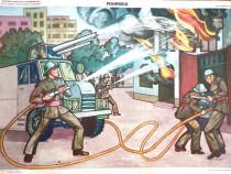 Afis didactic vechi din perioada comunista - Pompierul