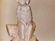 B889-Statuie veche marmura Fetita calitate deosebit realizat