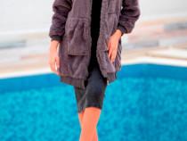 Jacheta lunga fetite din blana ecologica REINA