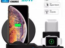 Dock 3 in 1 Incarcare Wireless Iphone Ceas Apple Watch Casti
