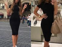 Rochie neagră cu mânecă scurtă elegantă sport lungă vară