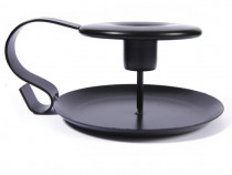 Suport lumanare, clasic, metalic, negru, 13 x 6 cm