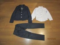Costum baieti scoala, pantaloni, sacou si 4 camasi. 7-8 ani.
