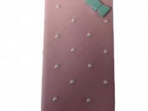 Husa Telefon Flip Book Apple iPhone 5 5s SE Pink Pearls