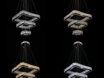 Lustra cristal K9 LED cu 3 segmente patrate Dipai 8050-400